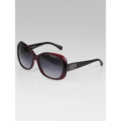 Chanel Burgundy Frame Black Tint Camellia CC Sunglasses-5248