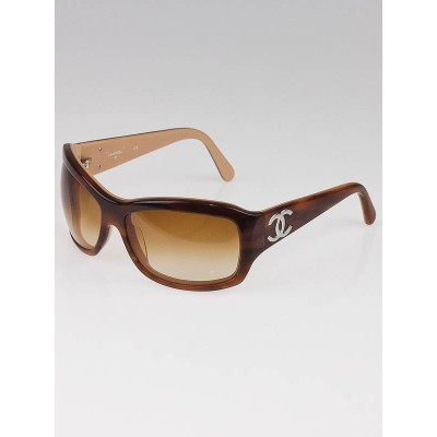 Chanel Tortoise Shell Frame Wrap CC Logo Sunglasses