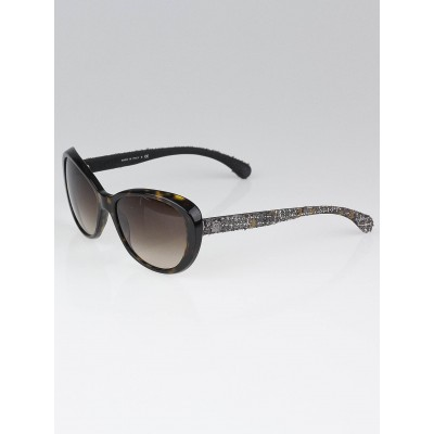 Chanel Brown Tortoise Shell and Brown Tweed Sunglasses-5241