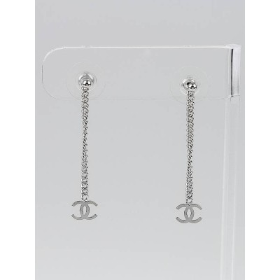 Chanel Silver CC Logo Drop Earrings