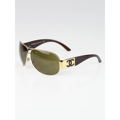Chanel Gold Frame CC Logo Wrap Aviator Sunglasses-4128