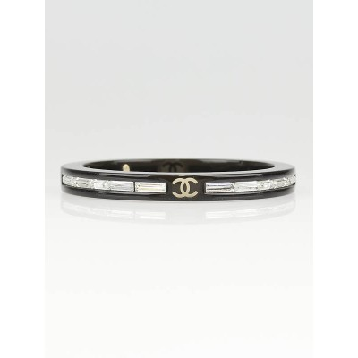 Chanel Black Resin and Crystal CC Logo Bangle Bracelet