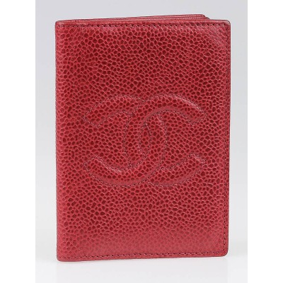 Chanel Red Caviar Leather CC Card Holder