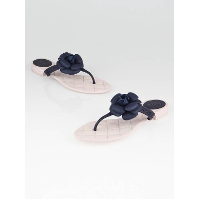 Chanel Pink/Blue Rubber Camellia Flower Thong Sandals Size 10.5/41