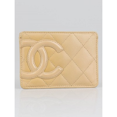 Chanel Beige Ligne Cambon Quilted Leather Card Holder