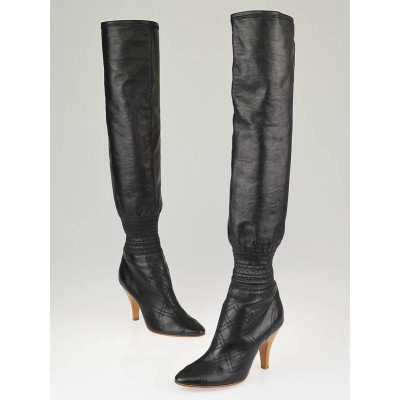 Chanel Black Leather Stitch Knee High Boots Size 7/37.5