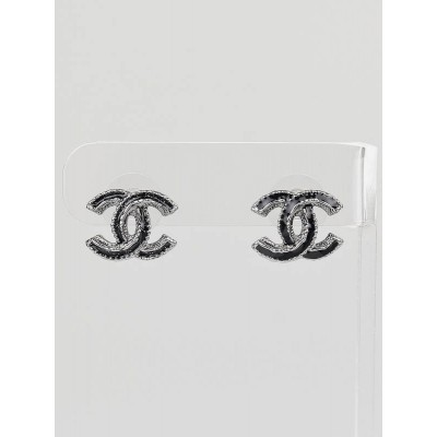 Chanel Black Resin and Metal CC Logo Stud Earrings