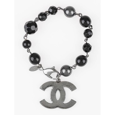 Chanel Black/Gray Beaded Logo Charm Bracelet