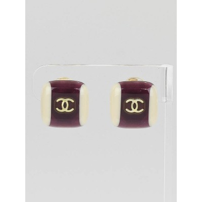 Chanel Purple/White Resin CC Square Clip-On Earrings
