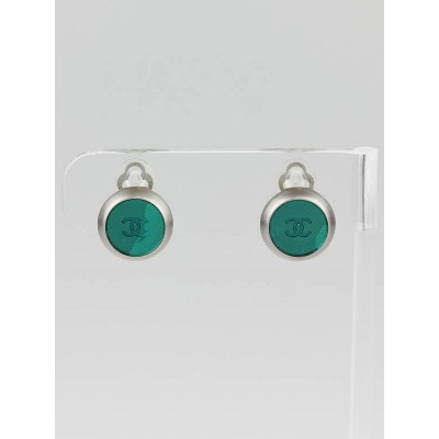 Chanel Green/Silver CC Disc Clip-On Earrings