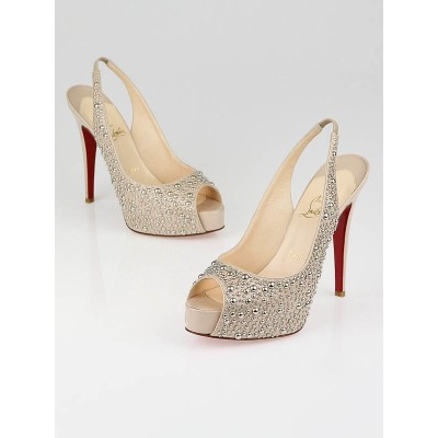 Christian Louboutin Nude Patent Leather Studded Star Prive 120 Slingback Pumps Size 8.5/39