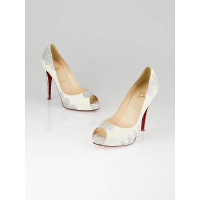 Christian Louboutin White/Grey Python Very Prive 120 Pumps Size 8.5/39