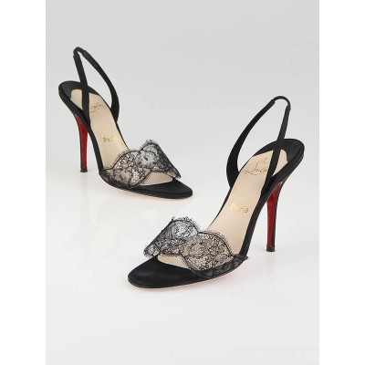 Christian Louboutin Black Satin and Lace Vive La Mariee Slingback Heels Size 7.5/38