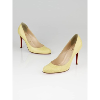 Christian Louboutin Yellow Lizard Simple 100 Pumps Size 8/38.5