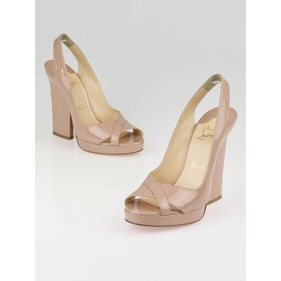 Christian Louboutin Nude Patent Leather New Marpoil 120 Slingback Heels Size 7.5/38