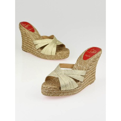 Christian Louboutin Gold Metallic Canvas Cataribbon Espadrille Wedges Size 10.5/41