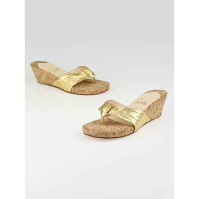 Christian Louboutin Gold Leather Cork Wedge Thong Sandals Size 8.5/39