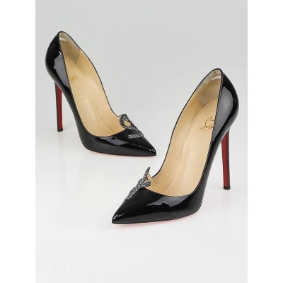 Christian Louboutin Black Patent Leather Sex 120 Pumps Size 9.5/40
