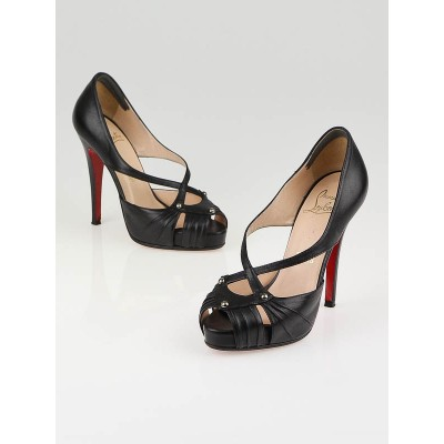 Christian Louboutin Black Leather Scissor Girl 120 Pumps Size 5.5/36