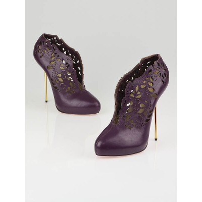 Christian Louboutin Limited Edition Marchesa Purple Laser-Cut Leather Pumps Size 10.5/41