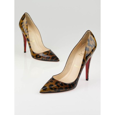 Christian Louboutin Leopard Print Patent Leather Pigalle 120 Pumps Size 9/39.5