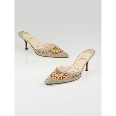 Christian Louboutin Natural Canvas Embroidered Mules Size 7/37.5
