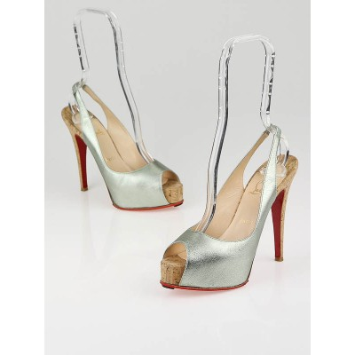 Christian Louboutin Aquarious Metallic Leather So Private 120 Cork Slingbacks Size 7/37.5