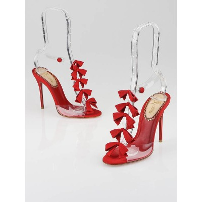Christian Louboutin Red Grosgrain/PVC Bow Bow 20th Anniversary 100mm Open-Toe Heels Size 5.5/36