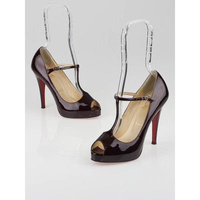 Christian Louboutin Burgundy Metal Patent Leather Burlina 120mm Platform Peep-Toe Pumps Size 6.5/37