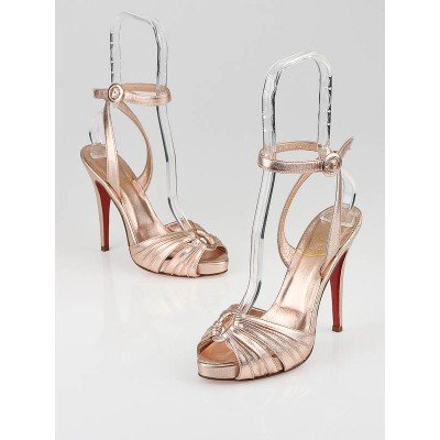 Christian Louboutin Pink Metallic Leather Ankle Strap Platform Sandals Size 6.5/37