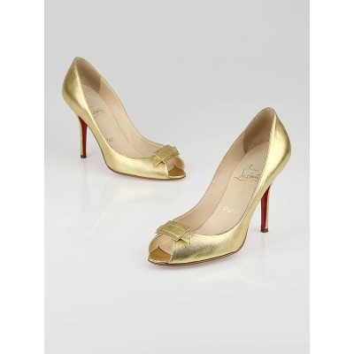 Christian Louboutin Gold Leather Maria 100 Peep Toe Pumps Size 8/38.5