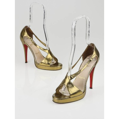 Christian Louboutin Bronze Leather Palace Zeppa Platform Sandals Size 8/38.5