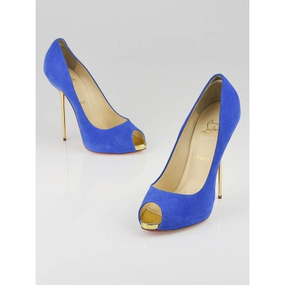 Christian Louboutin Royal Blue Suede Open Lips 120 Pumps Size 9.5/40