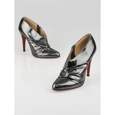 Christian Louboutin Anthracite Patent Leather Metallika Booties Size 7.5/38