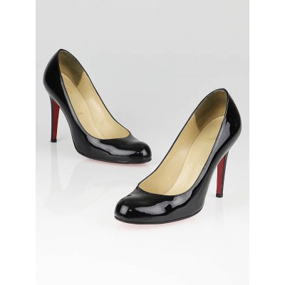 Christian Louboutin Black Patent Simple 100 Pumps Size 6.5/37