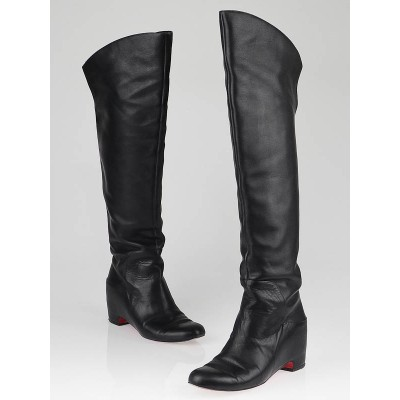 Christian Louboutin Black Leather Beatriche Over the Knee Boots Size 8.5/39