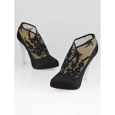 Christian Louboutin Black Satin and Lace Clic-Clac Lucite Booties Size 10/40.5