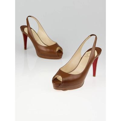 Christian Louboutin Brown Cathay 100 Slingback Pumps Size 7/37.5