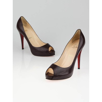 Christian Louboutin Dark Brown Leather Very Prive Peep Toe Pumps Size 10.5/41
