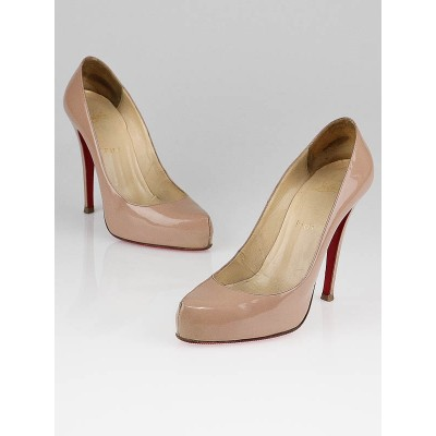 Christian Louboutin Nude Patent Leather Rolando 120 Pumps Size 7.5/38