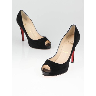 Christian Louboutin Black Suede No Prive Close Peep Toe Pumps Size 9/39.5