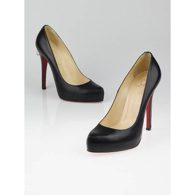 Christian Louboutin Black Leather Rolando Zip 120 Pumps Size 9.5/40