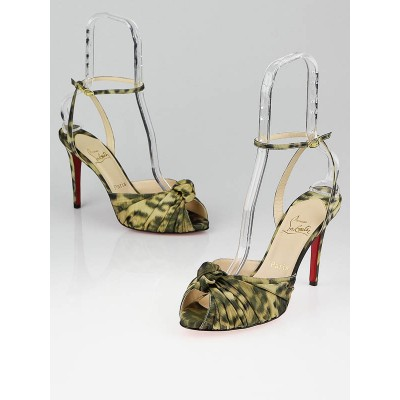 Christian Louboutin Yellow Madagascar Silk Gres's Mule 100 Sandals Size 9.5/40