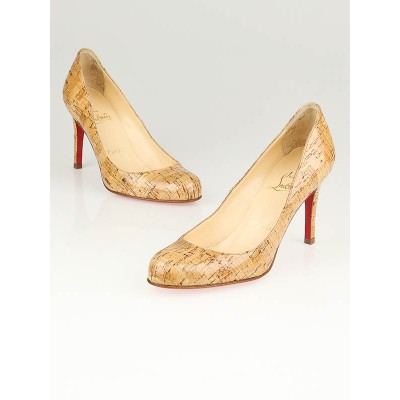 Christian Louboutin Naturale Polished Cork Simple 85 Pumps Size 3.5/34