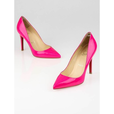 Christian Louboutin Rose Matador Patent Leather Pigalle 100 Fluo Chic Pumps Size 5.5/36