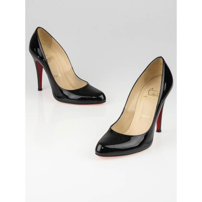 Christian Louboutin Black Patent Leather Decollete 858 100 Pumps Size 6.5/37