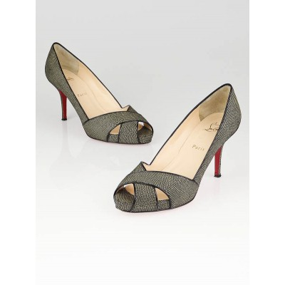 Christian Louboutin Black Stingray Shelley 90 Open Toe Pumps Size 9/39.5