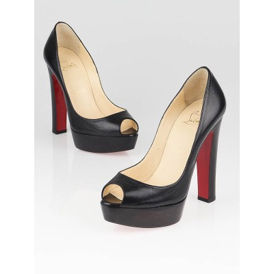 Christian Louboutin Black Leather Bambou 140 Peep Toe Pumps Size 5.5/36