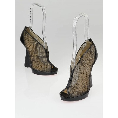 Christian Louboutin Black Lace and Python Janet 120 Wedges Size 7.5/38