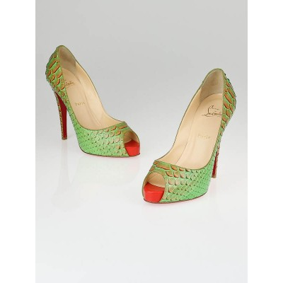 Christian Louboutin Menthe Green Python Fairy Tail Very Prive 120 Pumps Size 8/38.5